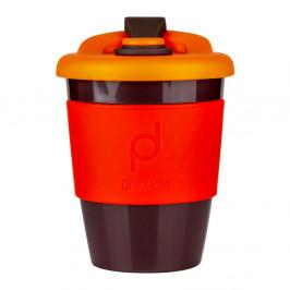 Oranžovo-hnedý cestovný hrnček na kávu Drink Pod Kofein, 340 ml