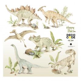 Sada detských nástenných samolepiek s dinosaurími motívmi Dekornik Happy Dino, 100 x 100 cm