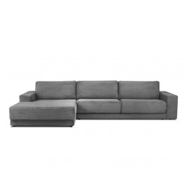 Sivá menčestrová XXL päťmiestna rozkladacia pohovka Milo Casa Donatella, ľavý roh