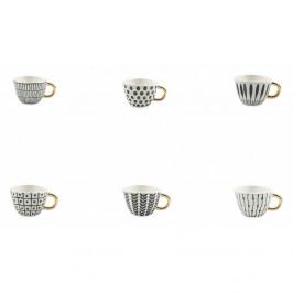 Sada 6 čierno-bielych šálok na kávu z kameniny Villa d'Este Masai, 90 ml