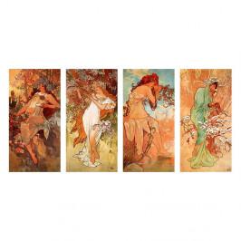 Reprodukcia obrazu Alfons Mucha - Pory Roku, 80×40 cm