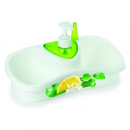 Zelený stojan na umývanie riadu s dávkovačom saponátu Snips