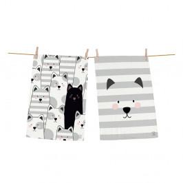 Set 2 kusov utierok z bavlny Butter Kings Black Cat, 70 x 50 cm