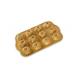 Forma na 12 minibáboviek v zlatej farbe Nordic Ware Minimix, 2,8 l