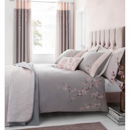 Ružovo-sivé obliečky na dvojlôžko Catherine Lansfield Blossom, 200x200cm