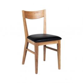 Hnedá dubová jedálenská stolička s čiernym sedadlom Rowico Dylan