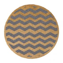Sivá okrúhla rohožka z prírodného kokosového vlákna Artsy Doormats Chevron, ⌀ 70 cm