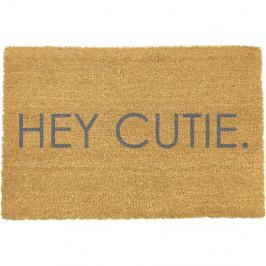 Sivá rohožka z prírodného kokosového vlákna Artsy Doormats Hey Cutie, 40 x 60 cm