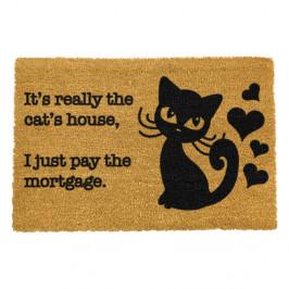 Rohožka z prírodného kokosového vlákna Artsy Doormats It's really the Cats House, 40 x 60 cm