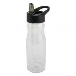 Čierna fľaša s vrchnákom a slamkou Addis Bottle Clear And Black, 700 ml
