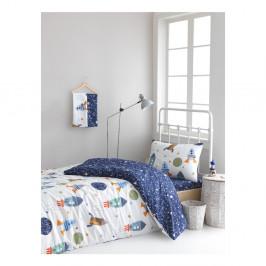 Obliečky na jednolôžko z ranforce bavlny Mijolnir Space× Dark Blue, 140 × 200 cm
