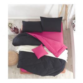 Čierno-fuksiové obliečky s plachtou na dvojlôžko Permento Masilana, 200×220 cm