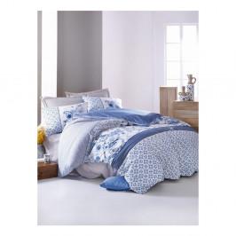 Modré bavlnené obliečky s plachtou na jednolôžko Bay, 140×200 cm