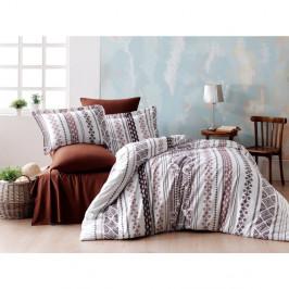 Obliečky s plachtou z ranforce bavlny na dvojlôžko Zaur Brown, 160 x 220 cm