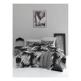 Obliečky na jednolôžko z ranforce bavlny Mijolnir Palmiye Black, 140 × 200 cm