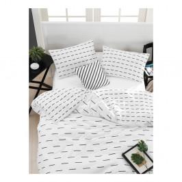 Obliečky s plachtou na dvojlôžko z ranforce bavlny Mijolnir Cubuk White, 160 x 220 cm