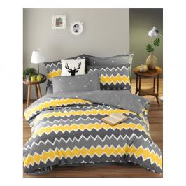 Bavlnené obliečky s plachtou na dvojlôžko EnLora Home Zigros Yellow, 200 x 220 cm