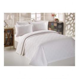 Set bielej bavlnenej prikrývky, plachty a 2 obliečok na vankúše na dvojlôžko Turro Puro, 200 × 235 cm