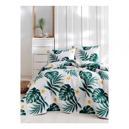 Set bavlnenej prikrývky cez posteľ a 2 obliečok na vankúše Masso Jungle, 200×220 cm
