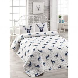 Set plédu cez posteľ a obliečky na vankúš s prímesou bavlny Geyik Dark Blue, 160 x 220 cm