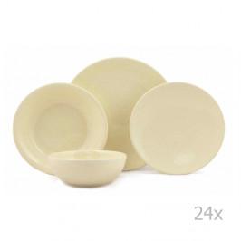 24-dielna sada žltých tanierov z porcelánu Kutahya Fenty