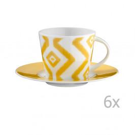 Sada 6 porcelánových hrnčekov na čaj s tanierikmi Vasilissa, 200 ml