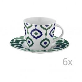 Sada 6 porcelánových hrnčekov na čaj s tanierikmi Tatiana