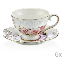Sada 6 porcelánových hrnčekov na kávu s taniereikmi Eliana