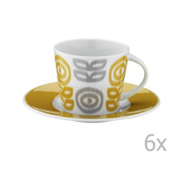 Sada 6 porcelánových hrnčekov na čaj s tanierikmi Poulios