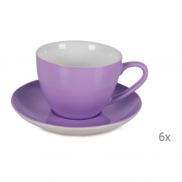 Sada 6 fialových porcelánových hrnčekov s tanierikmi Efrasia, 200 ml