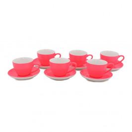 Sada 6 tmavoružových porcelánových hrnčekov s tanierikmi Efrasia, 200 ml