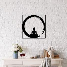 Čierna kovová nástenná dekorácia Buddha, 50×50 cm