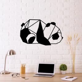 Čierna kovová nástenná dekorácia Panda, 55×33 cm