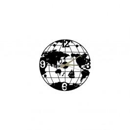 Čierne nástenné hodiny Globe Clock, ⌀50 cm
