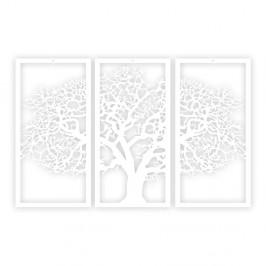 Biely 3-dielny nástenný obraz Solid Tree