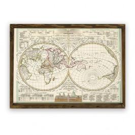 Obraz v drevenom ráme World, 70 × 50 cm