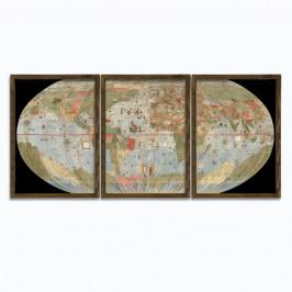 3-dielny obraz v drevenom ráme Globe