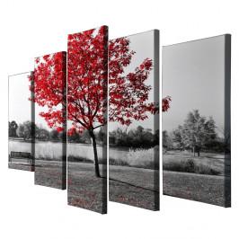 Päťdielny obraz na plátne Red Tree