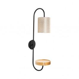 Čierne kovové nástenné svietidlo s krémovým tienidlom Opviq lights Marylena