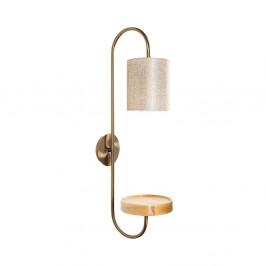 Kovové nástenné svietidlo v zlatej farbe s krémovým tienidlom Opviq lights Marylena