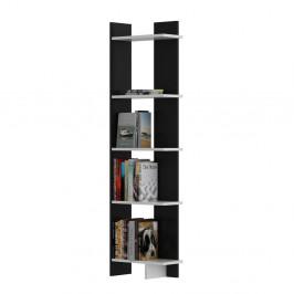 Čierna knižnica s bielymi detailmi Als Black White