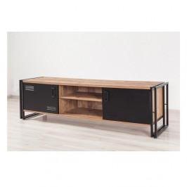 TV stolík s čiernymi dvierkami Industrio, dĺžka 180 cm