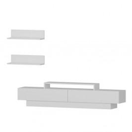 Set bielého TV stolíka a 2 nástenných políc Lucca TV White