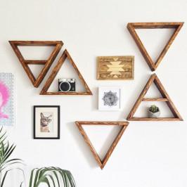 Sada 5 drevených nástenných políc Ava