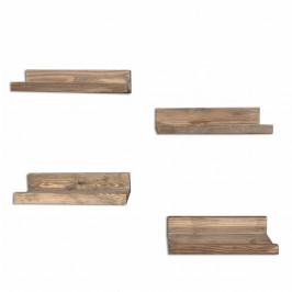 Sada 4 drevených nástenných políc Arena