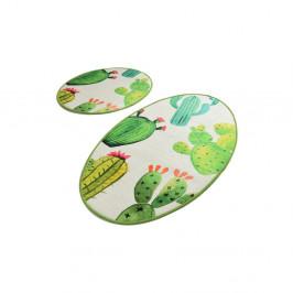 Sada 2 bielo-zelených kúpeľnových predložiek Tropica Cactus I