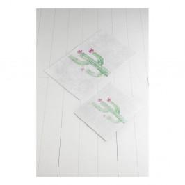 Sada 2 bielo-zelených kúpeľnových predložiek Tropica Cactus III