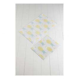 Sada 2 bielo-žltých kúpeľnových predložiek Tropica Ananas
