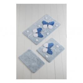 Sada 3 bielo-modrých kúpeľnových podložiek Mari Blue