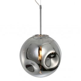 Závesné svietidlo z fúkaného skla v chrómovosivej farbe Leitmotiv Pendulum